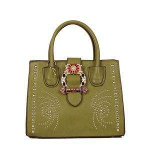 ✤ Olive Bedazzled Buckle Belt Satchel Bag